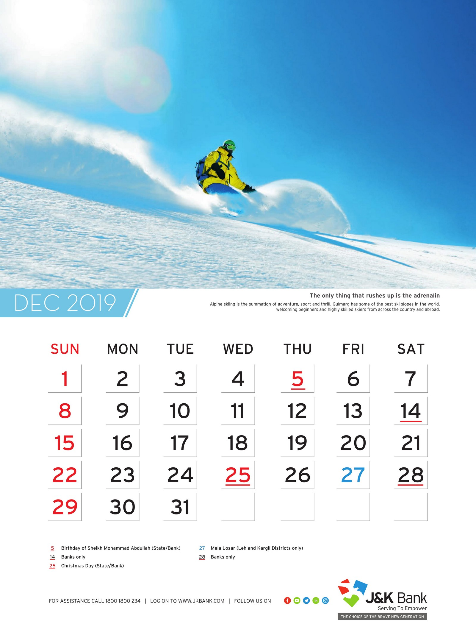 Wall Calendar | Jammu and Kashmir J&K Bank